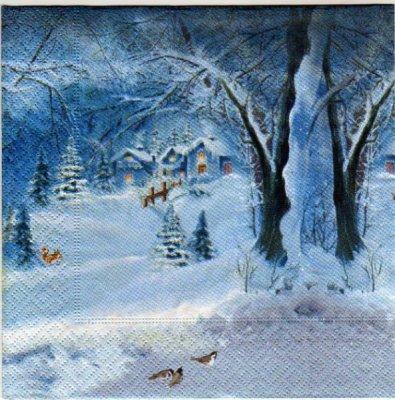 Serviette papier Père Noël et rennes 33 cm X 33 cm 3 plis