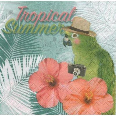 Serviette papier perroquet et fleurs 33 cm X 33 cm 3 plis