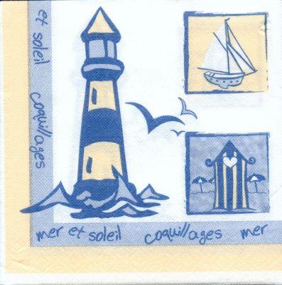 Serviette papier phare et voilier de 40 cm X 40 cm 3 plis
