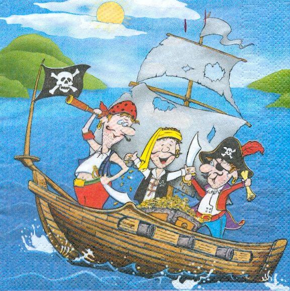 Serviette papier pirates de 33 cm X 33 cm 3 plis