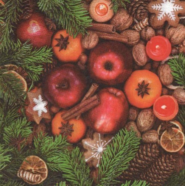 Serviette papier pomme de Noël 33 cm X 33 cm 3 plis