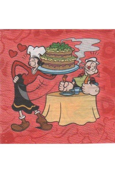 Serviette papier Popeye et Olive 33 cm X 33 cm 2 plis
