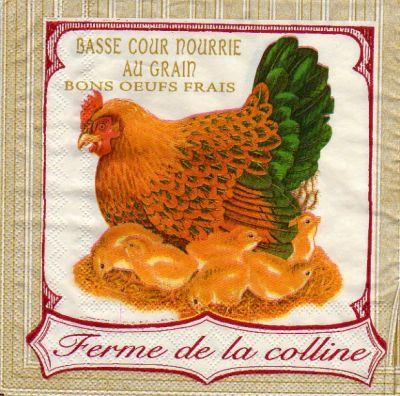 Animaux serviette papier poule 33cm x 33 cm 3 plis - Fournitures loisirs creatifs ...