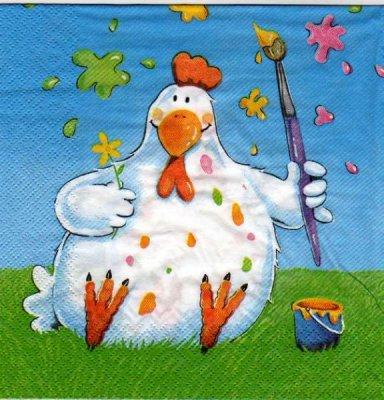 Serviette papier poule de Pâques peinture 33 cm X 33 cm