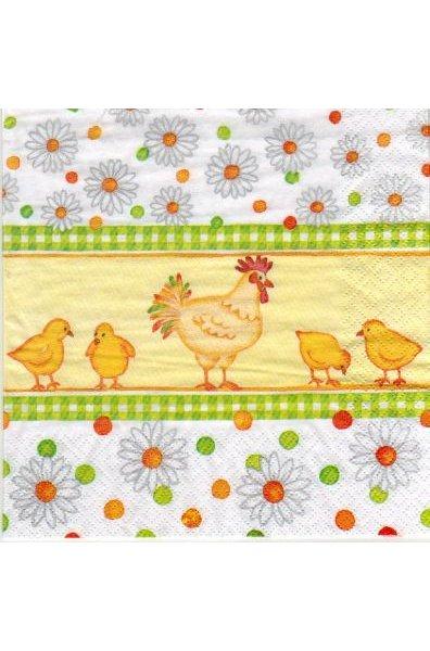 Serviette papier poule et 4 poussins 33cm X 33 cm 3 plis