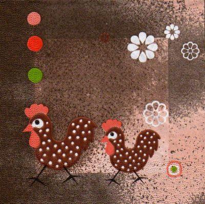 Serviette papier 2 poules 33 cm X 33 cm 3 plis
