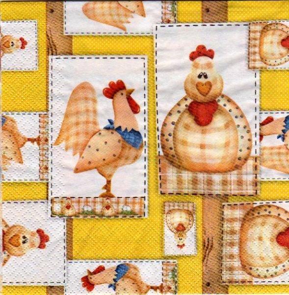 Serviette papier 2 poules de Paques 33 cm x 33 cm