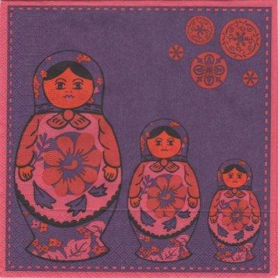 Serviette papier poupée Russe  33 cm X 33 cm 3 plis