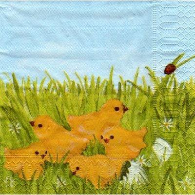Serviette papier Poussins jaunes 33cm X 33 cm 3 plis