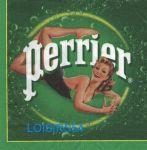 """Serviette papier pub """"Perrier"""" et jeune femme - 33 cm x 33 cm 3 plis"""