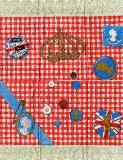Serviette papier Reine Angleterre 33 cm x 38 cm