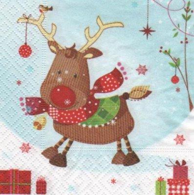 Serviette papier renne de Noël 25 cm X 25 cm 3 plis