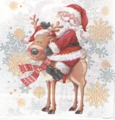 Serviette papier Renne et Père Noël 33 cm X 33 cm 3 plis