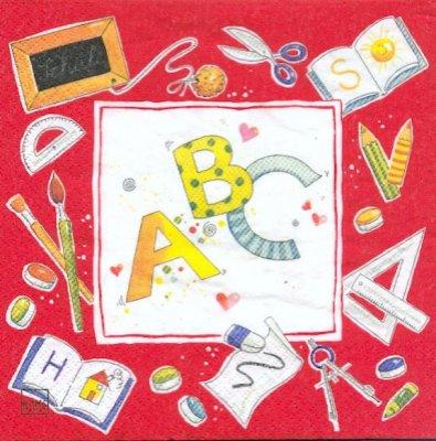Serviette papier A B C rentrée de 33 cm X 33 cm 3 plis