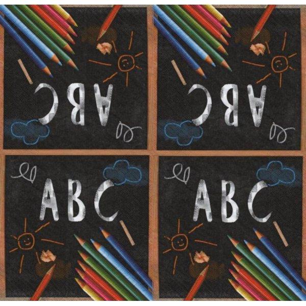 Serviette papier Rentrèe et couleurs 33 cm X 33 cm 3 plis