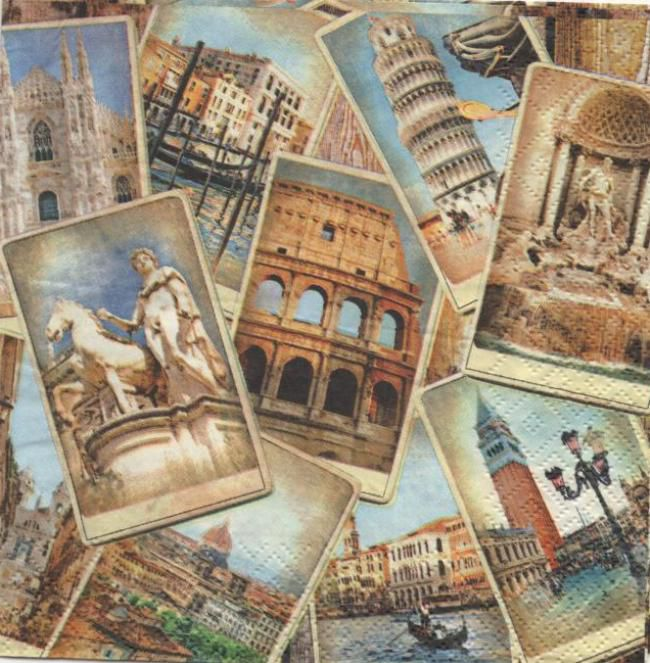 Serviette papier Rome et italie  33 cm X 33 cm 3 plis