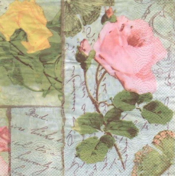 Serviette papier 3 roses 33 cm X 33 cm 3 plis