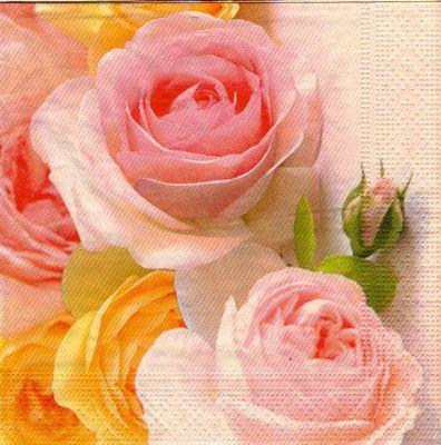 Serviette papier roses jaune et rose 33 cm X 33 cm 3 plis