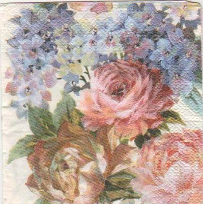 Serviette papier roses rouge 25 cm X 25 cm 3 plis