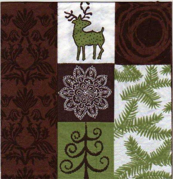 Serviette papier sapin de Noël 33 cm X 33 cm 3 plis