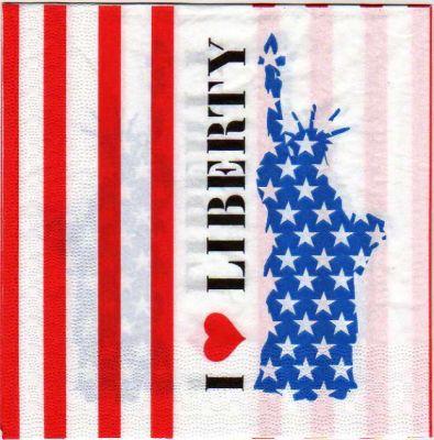 Pays serviette papier statue de la libert 33 cm x 33 cm - Fourniture loisirs creatifs ...