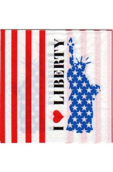 Serviette papier statue de la Liberté 33 cm X 33 cm 3 plis