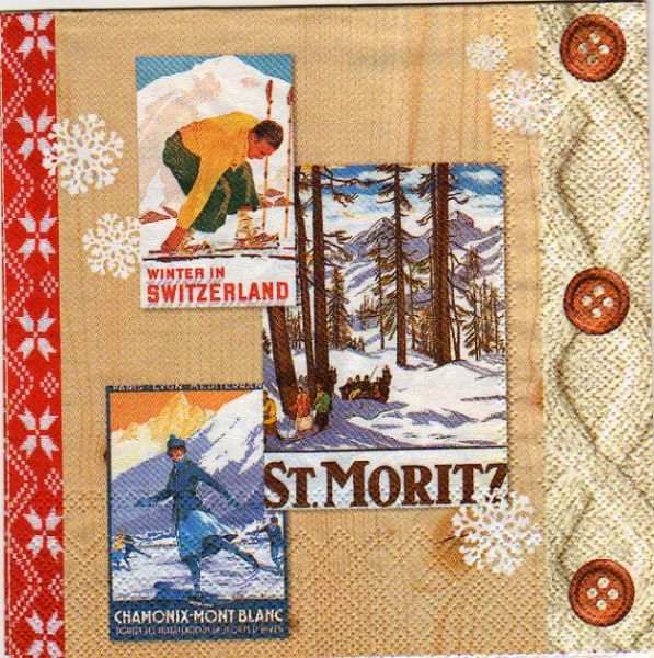 Serviette papier Suisse et montagne  33 cm X 33 cm 3 plis
