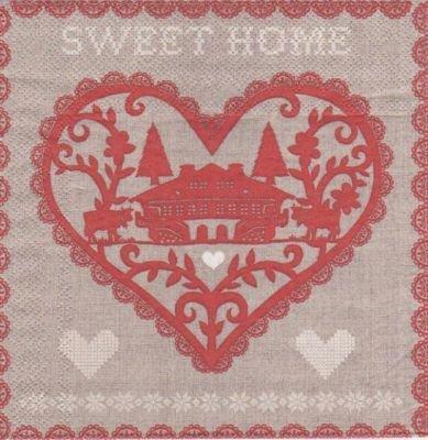 Serviette papier Sweet Home de 33 cm X 33 cm 3 plis