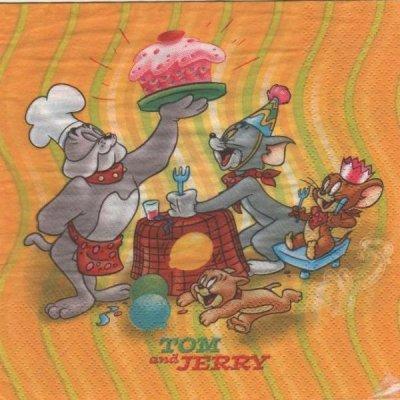 Serviette papier Tom et Jerry et le gateau