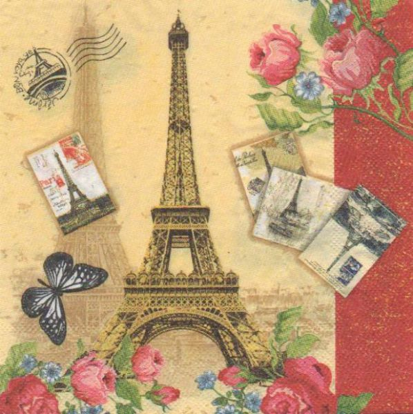 Serviette papier Tour Eiffel et roses 33 cm X 33 cm 2 plis