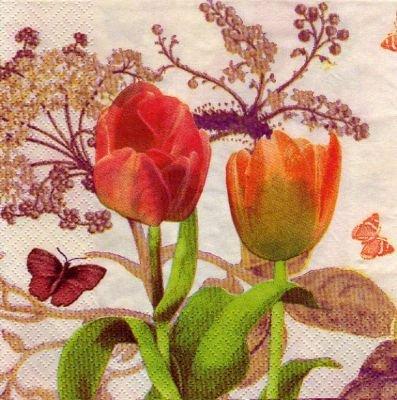 Serviette papier 2 tulipes 33 cm X 33 cm 3 plis
