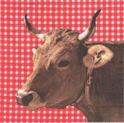 Serviette papier vache brune et collier 33 cm X 33 cm 3 plis