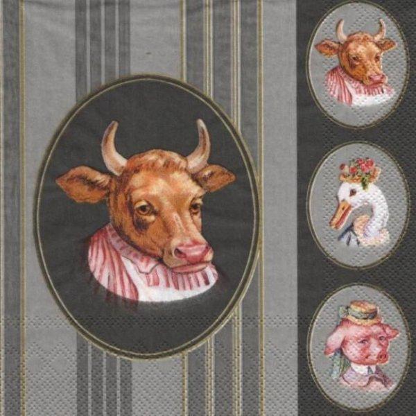 Serviette papier vache et canard 33 cm X 33 cm 3 plis