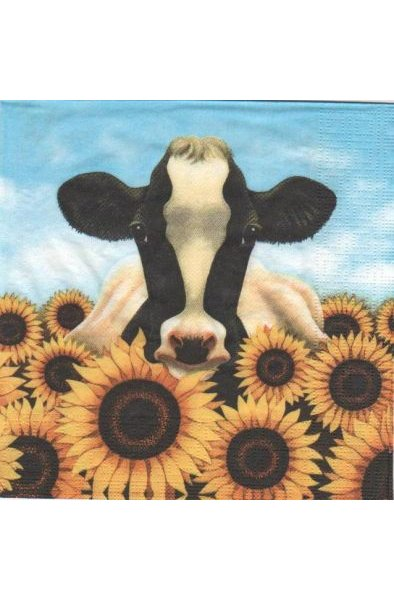 Serviette papier vache et tournesol 33 cm X 33 cm 3 plis