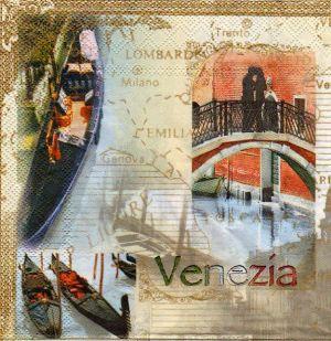 Serviette papier Venise et gondoles 33 cm X 33 cm 3 plis