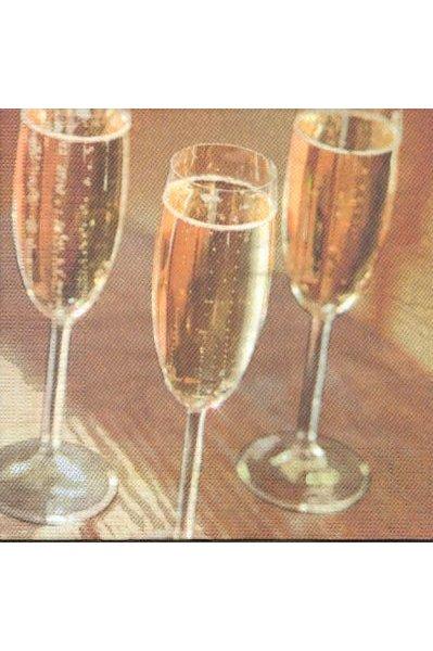 Serviette papier 3 verres de champagne