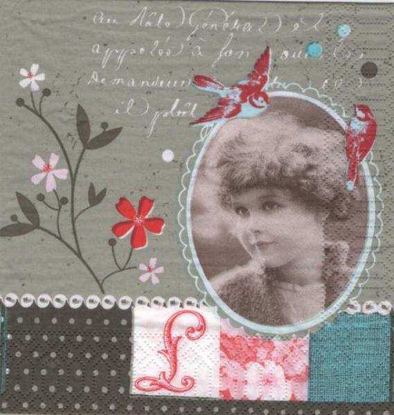 Serviette papier vintage et jeune fille 33 cm x 33 cm