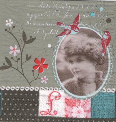 Serviette papier vintage et jeune fille