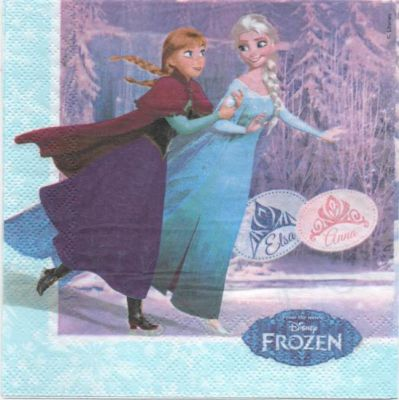 Serviette Reine des neige et Olaf de 33 cm X 33 cm 2 plis