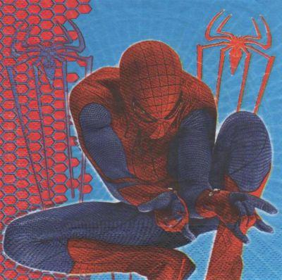 Serviette Spiderman et sa toile de 33 cm X 33 cm 2 plis