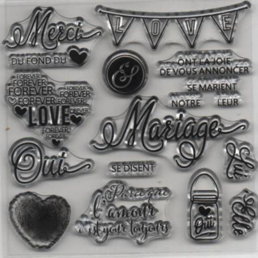 Set tampons transparents motif mariage