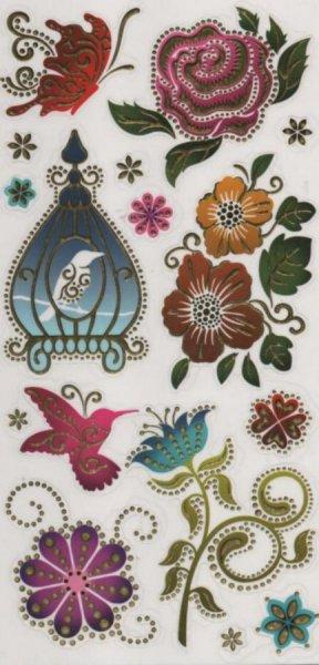 Sticker crystal oiseau et rose 24 cm x 12 cm