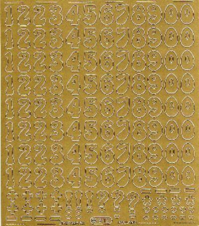 Sticker nombres couleur or 200 mm x 200 mm