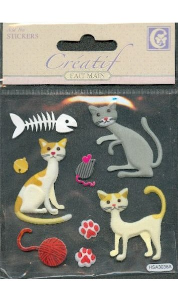 Stickers 3 D chats et poisson