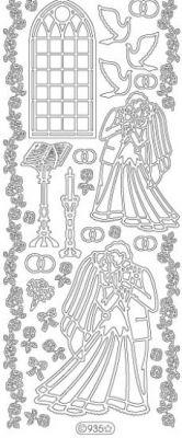 Stickers jeune marié argent 230 mm x 100 mm
