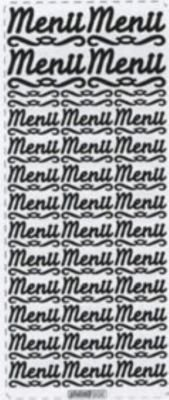 Stickers Menu couleur argent 230 mm x 100 mm