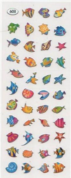 Stickers poissons planche de 43 pieces