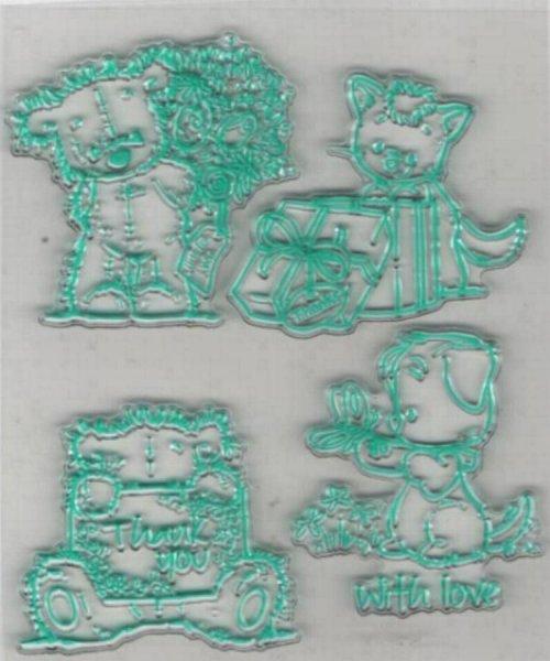 Tampon transparent baby ourson pour décoration 4 pièces