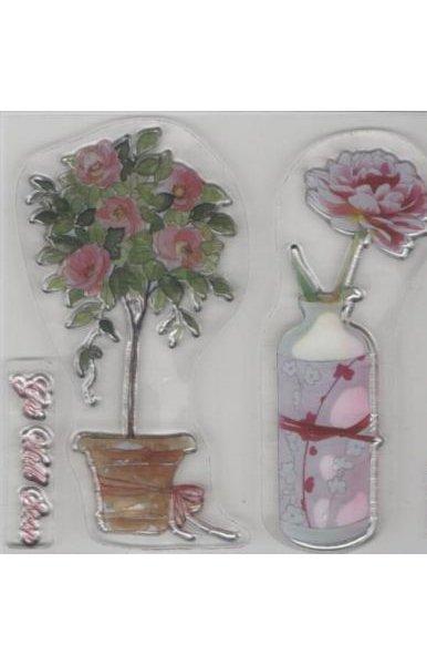 Tampons fleur en pot transparent