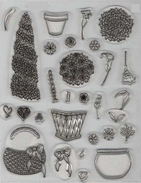 Tampons encreur tampons fleurs transparent - Fourniture loisirs creatifs ...